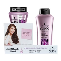 Gliss Şampuan Serum Deep Repair 400ml + Saç Bakım Maskesi Serum Deep Repair 300ml